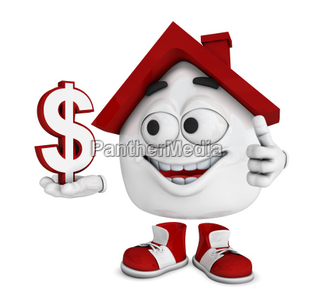 small 3d house red dollar