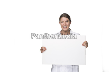 female doctor with board in hand