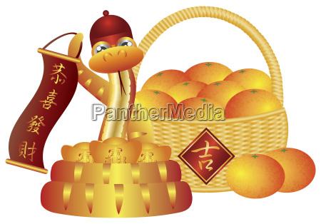 chinesische neujahr korb von orangen und