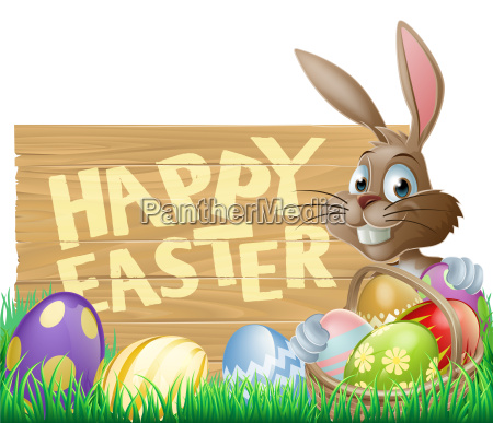 happy easter sign bunny