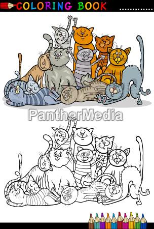 katzen cartoon illustration fuer malbuch