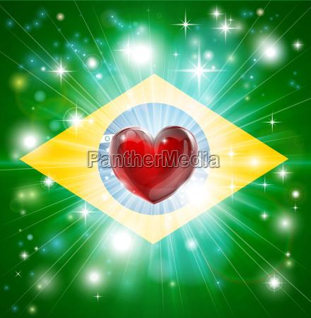 love brazil flag heart background