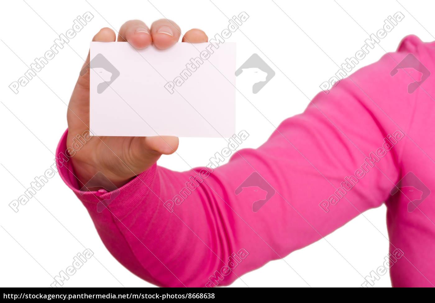 Stockfoto 8668638 Weibliche Hand Hält Eine Blanko Visitenkarte