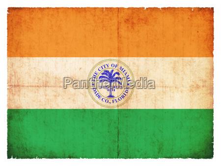 grunge flag of miami usa