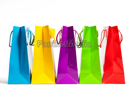 bunte reihe einkaufstueten