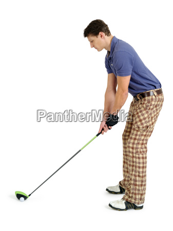 golfer on white background