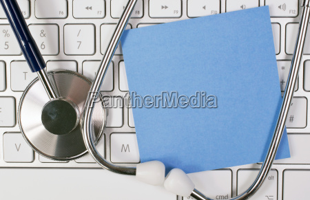 stethoscope with keyboard and list
