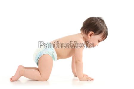 baby crawling and watching down