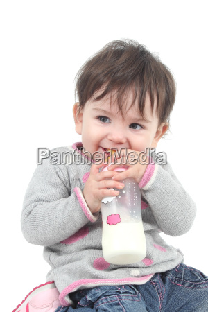 baby with a feeding bottle in
