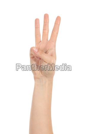woman hand showing three fingers