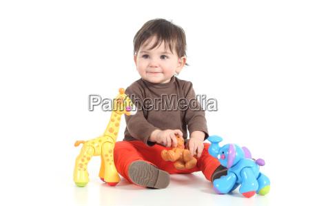 baby, spielt, mit, bunten, spielzeug - 8705084