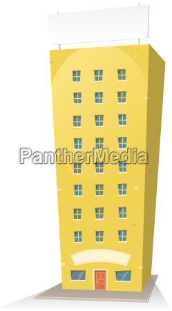 cartoon building with sign