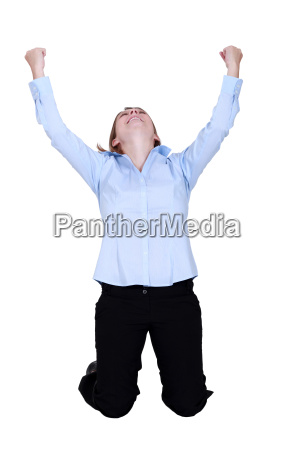 woman raised hands in delight