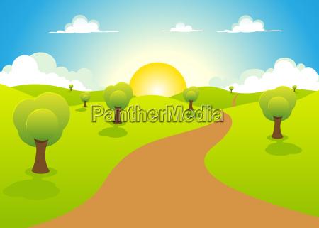 cartoon spring or summer landscape
