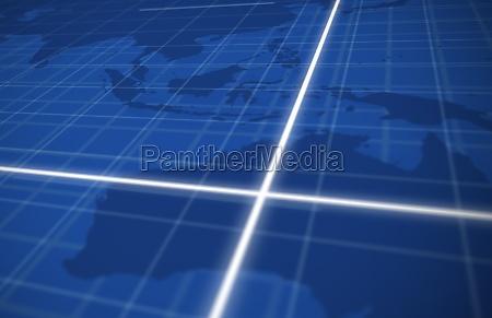 griglia globale digitale in blu con