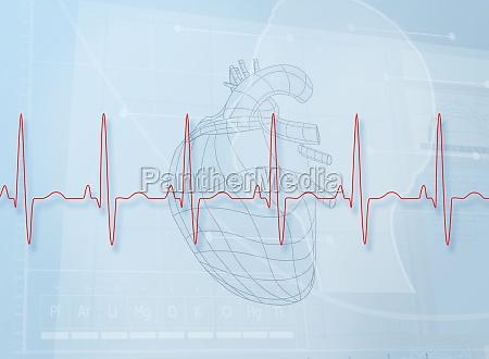 hearth abbildung hinter einem herzschlag linie