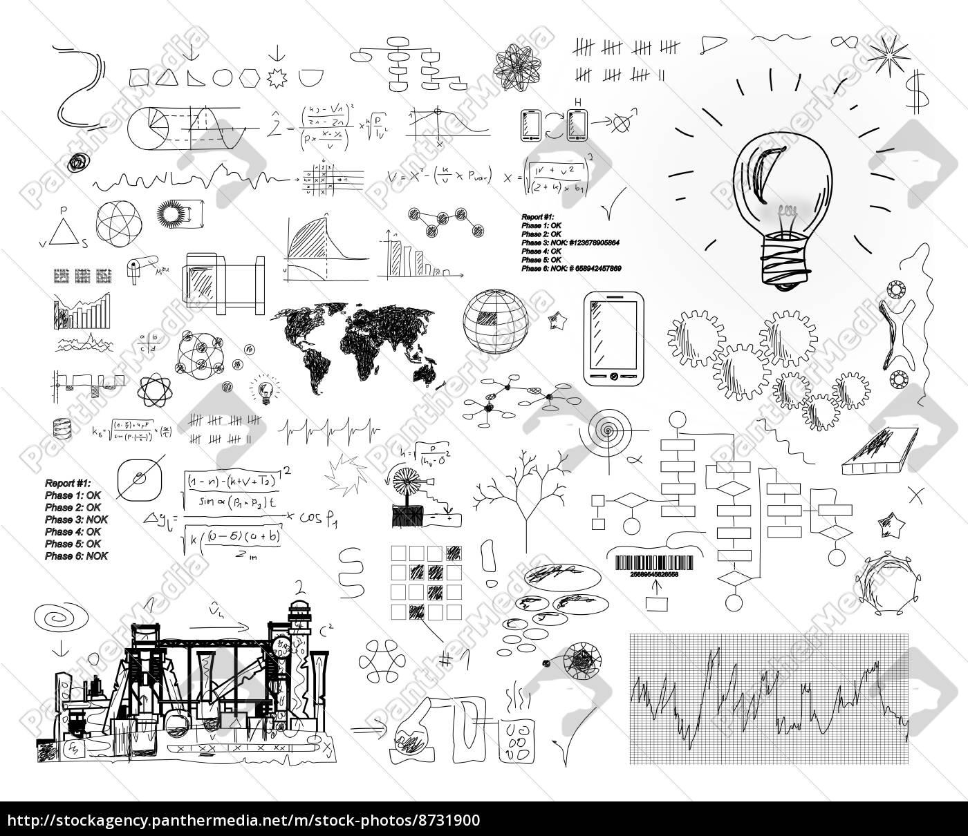 gezeichnete, lösungen, -, skizzen, -, ideen - 8731900