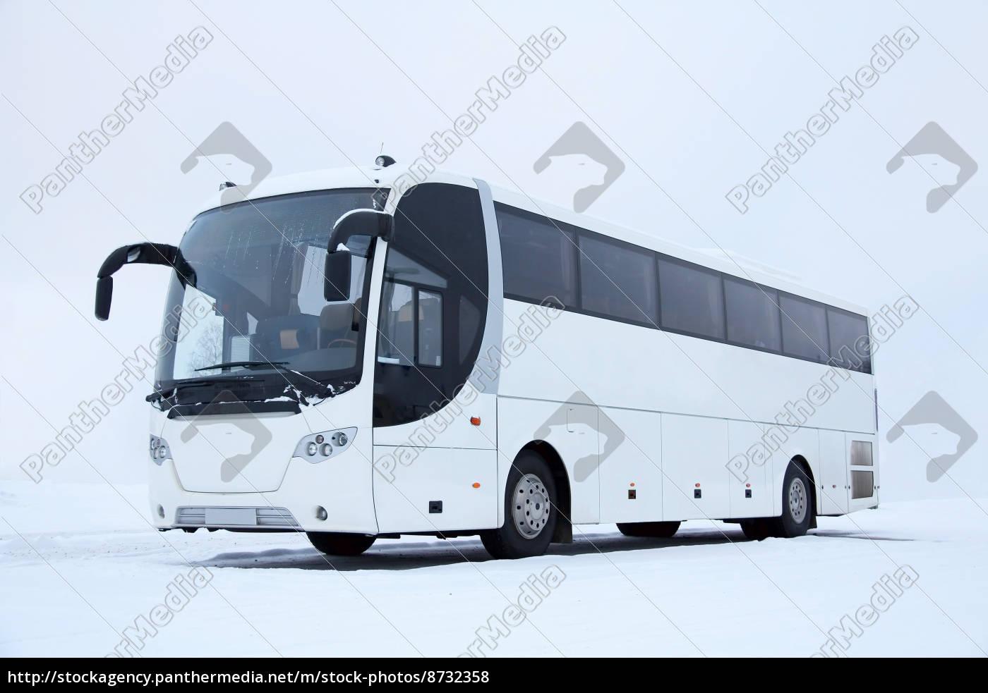 weiß, bus, im, winter - 8732358
