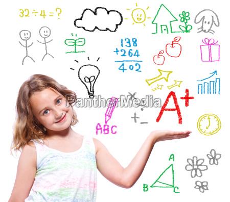 schule maedchen mit der hand geschrieben