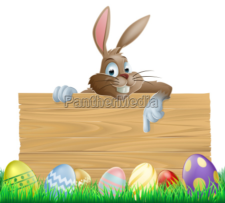 bunny character pointing and easter eggs