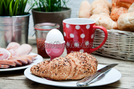 fresh breakfast with croissant tea and