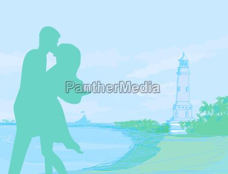 silhouette couple on tropical beach on