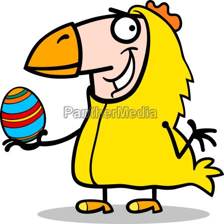 man in easter chicken costume cartoon
