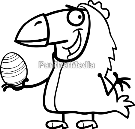 man as easter chicken cartoon for