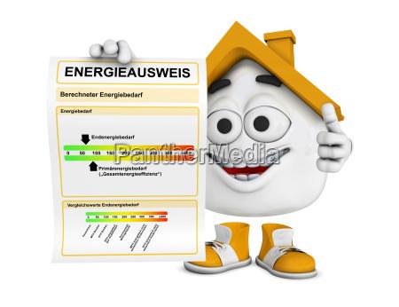 kleines 3d haus orange energieausweis