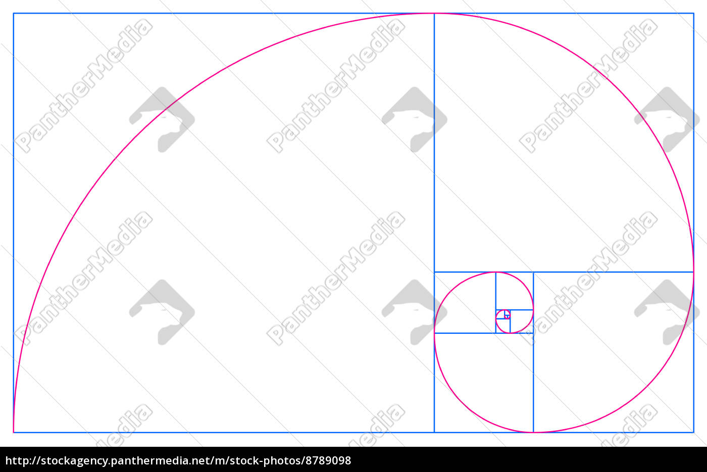 Goldenen Schnitt fibonacci spirale im goldenen schnitt blau rot auf stock photo