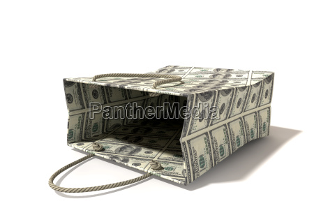 shopping bag dollar notes laying down