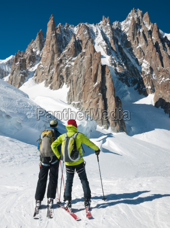 skiers in front of the breathtaking