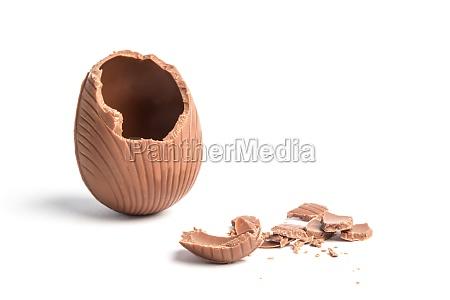 broken chocolate easter egg on white