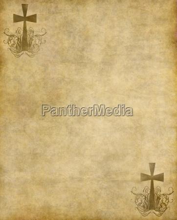 christian kreuz auf altem papier