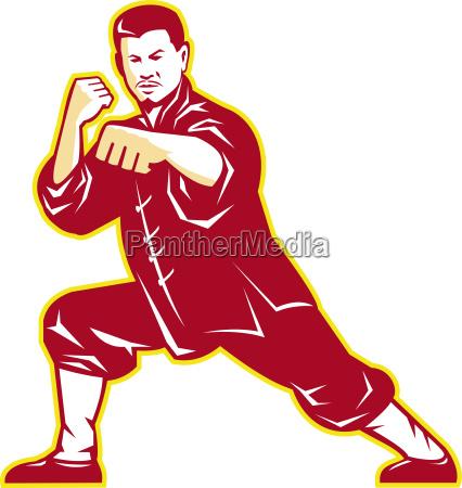 shaolin kung fu kampfkunst meister retror