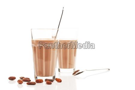 schokoladen milch vor anderer schokomilch mit
