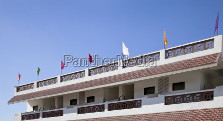 flags waving off the terrace