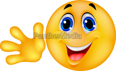 smiley emoticon winken hand