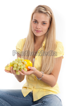 attractive young woman with fruit