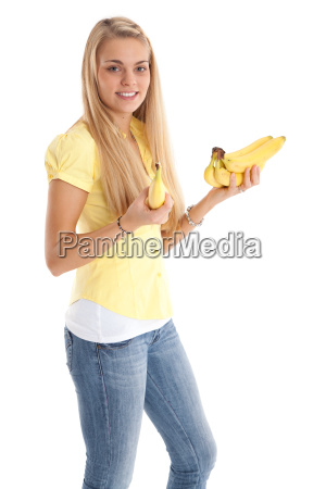 pretty woman with bananas