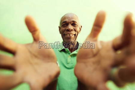 old african man with hands and