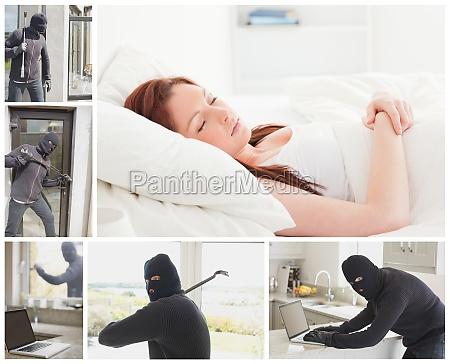 collage of burglar breaking and entering