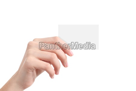 beautiful woman hand showing a blank