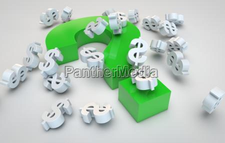 question mark and dollar symbols
