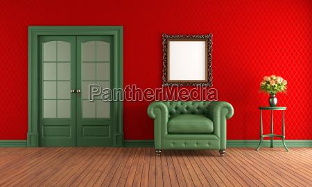 roter und gruener vintage raum mit