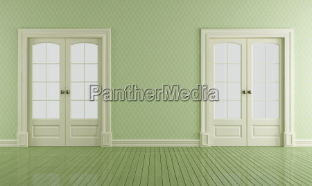 green vintage room with sliding doors