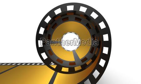 3d cinema concept goldene filmrolle
