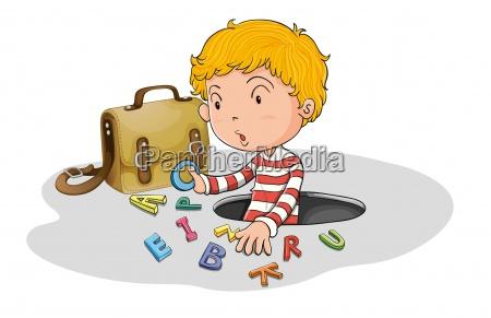 alphabets and boy