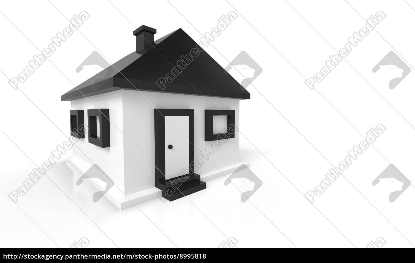 Stockfoto 8995818   3D Haus Schwarz Weiß