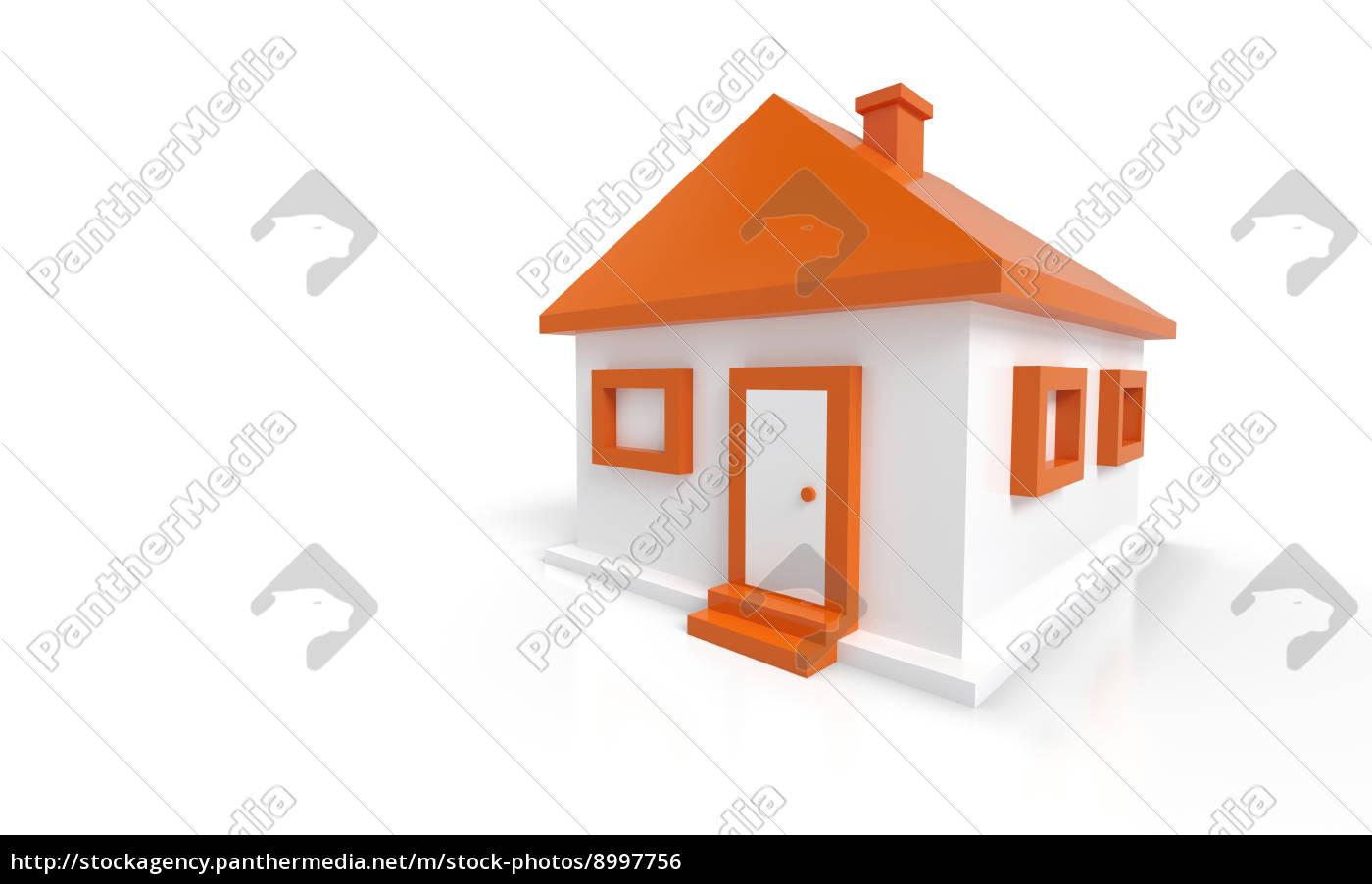 Lizenzfreies Foto 8997756   3D Haus Orange Weiß